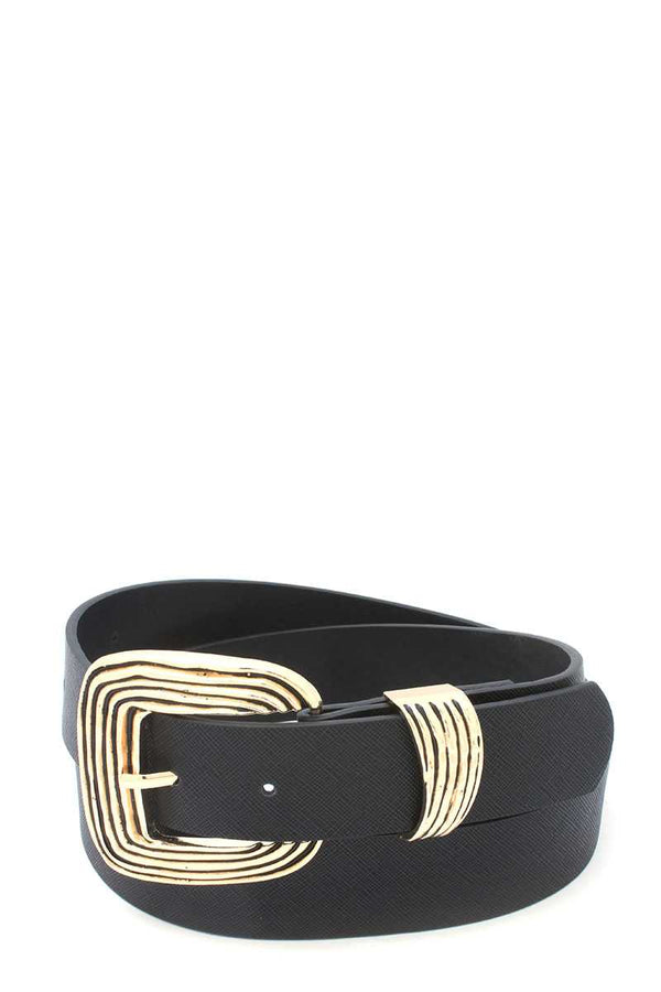 Black Metal Buckle Pu Leather Belt
