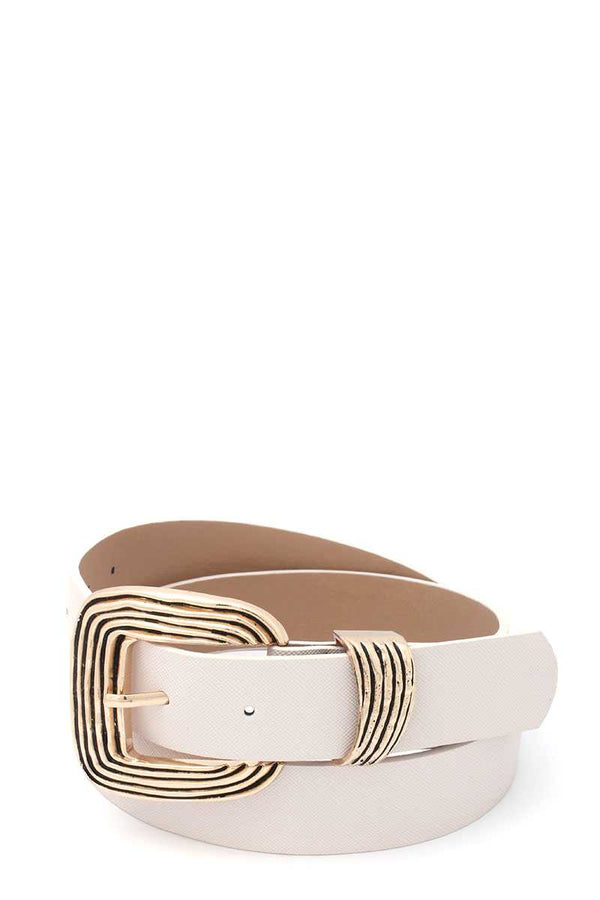 Ivory Metal Buckle Pu Leather Belt