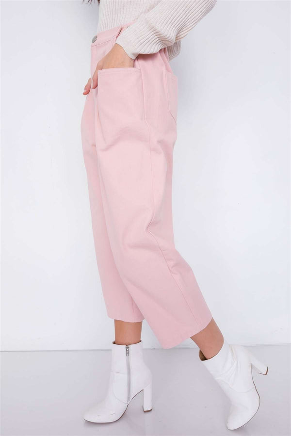 Women Pastel Chic Solid Ankle Wide Leg Adjustable Snap Waist Pants