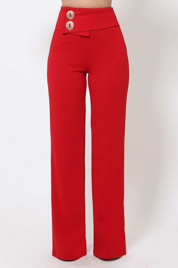 Red Oversized Button Front Detail Pants