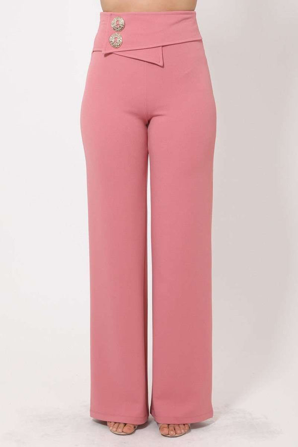 Pink Oversized Button Front Detail Pants