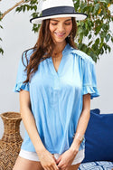 Blue Ruffle Mock Notched Neck Short Sleeve Solid Top