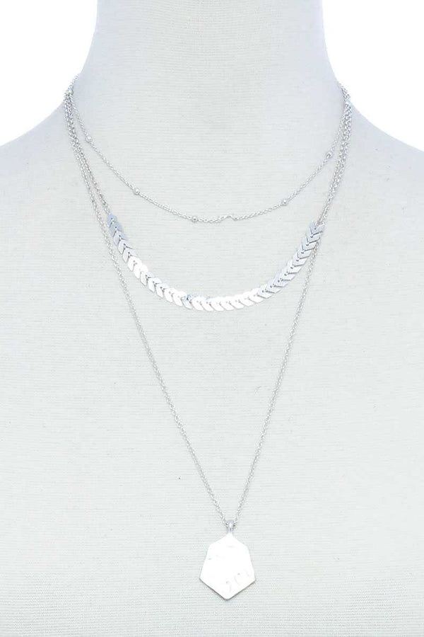 Triple Layered Chain And Pendant Necklace Silver