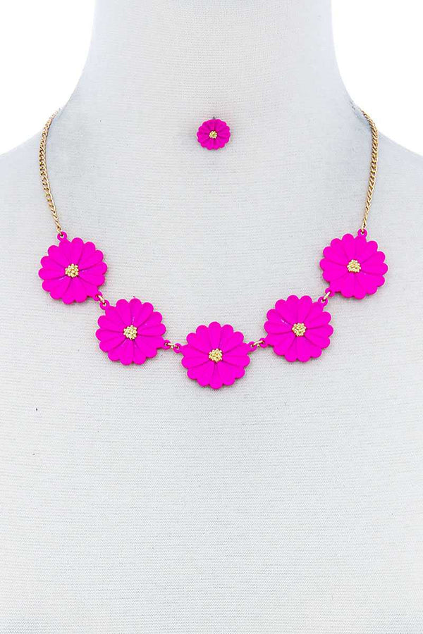 Pink Fashion Cute Multi Tender Flower Necklace And Earring Set