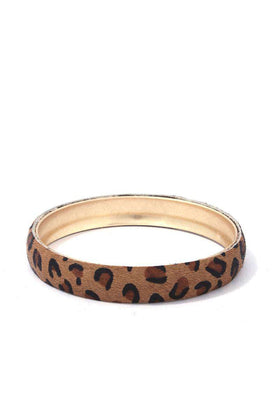 Animal Print Metal Bangle Bracelet