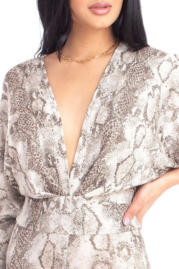 Brown Animal Print Dolman Sleeve Jumpsuits