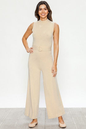 Women Taupe Sweater Solid Jumpsuit
