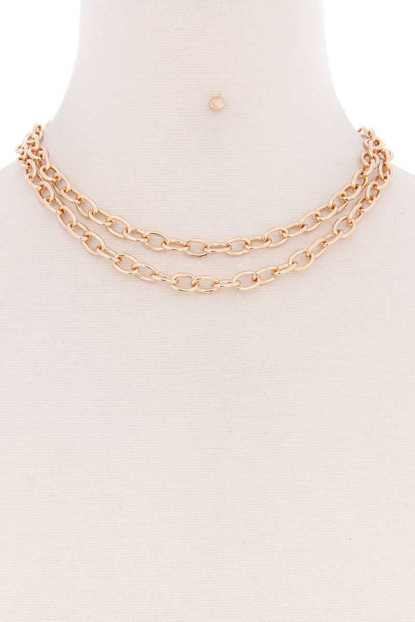 Gold Metal Layered 2 Simple Chain Necklace
