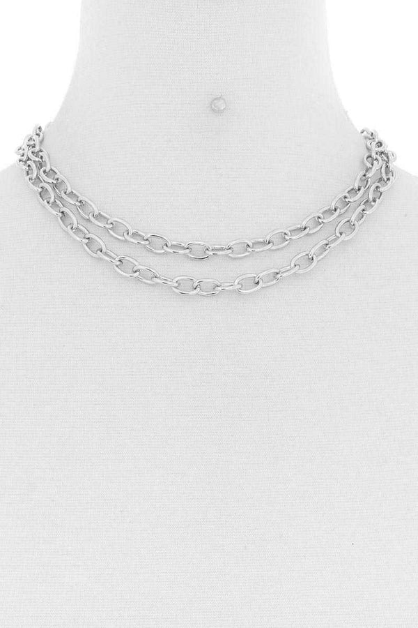 Silver Metal Layered 2 Simple Chain Necklace