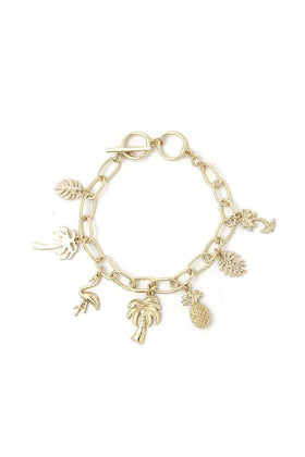 Tropical Chic Fashion Charm Drop Bracelet