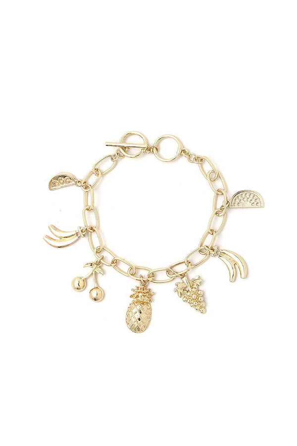Gold Fruit Charm Bracelet