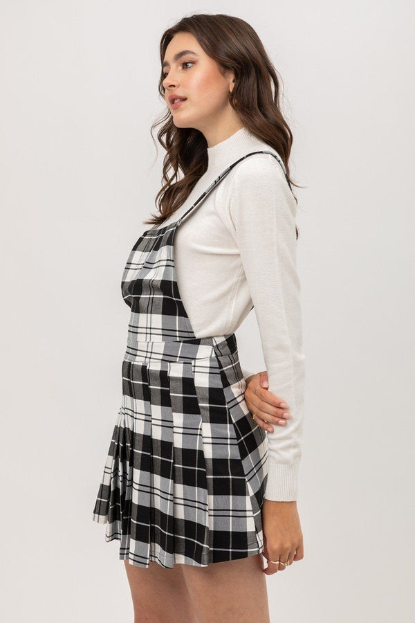 Woven Stretch Plaid Pleated Skirtall