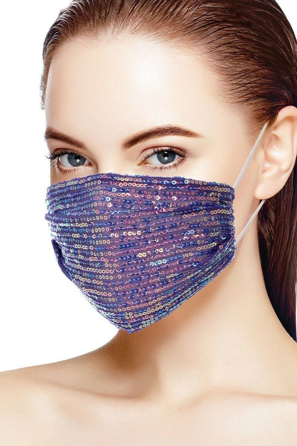 Purple Women's Sequin Fashion Facemask
