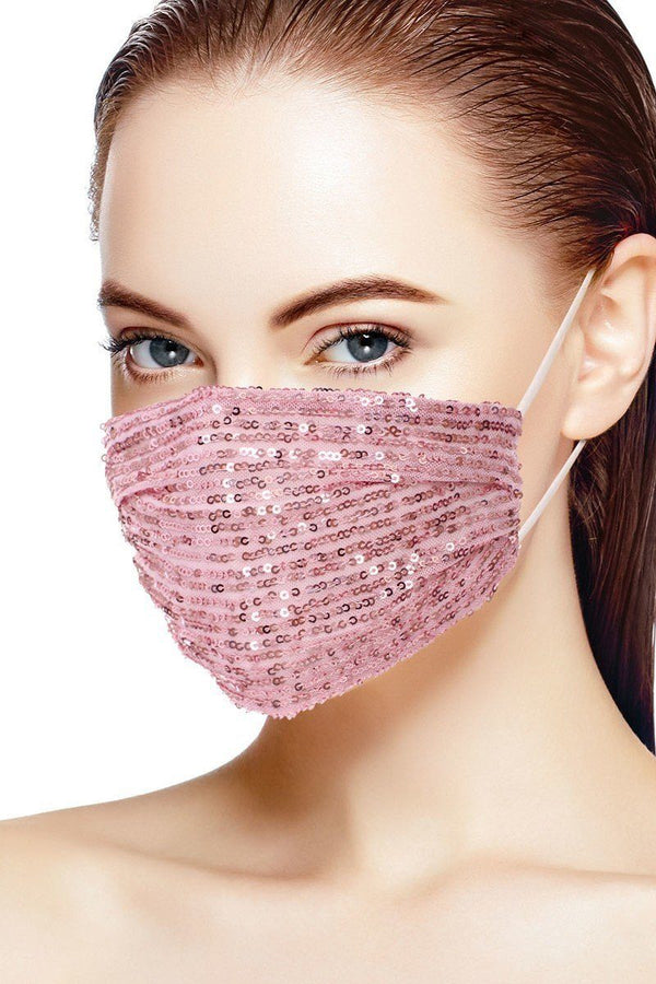 Blush Pink Women's Sequin Fashion Facemask