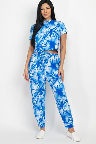 Blue Tie-dye Printed Top And Pants Set