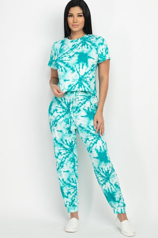Jade Tie-dye Printed Top And Pants Set