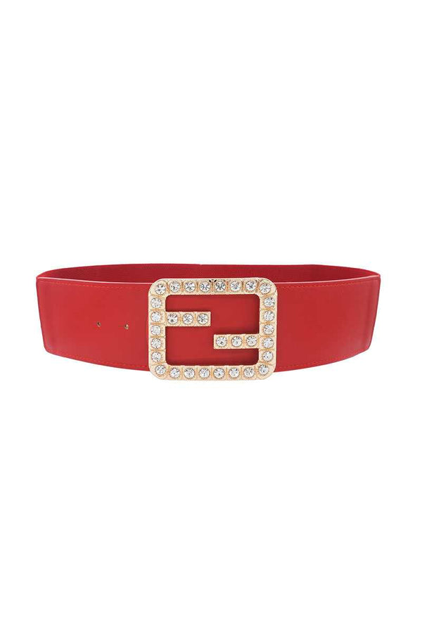 Red Rhinestone Buckle Elastic Belt
