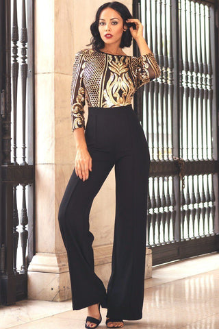 Black and gold Open Back Gold Sequin Pattern Jumpsuit