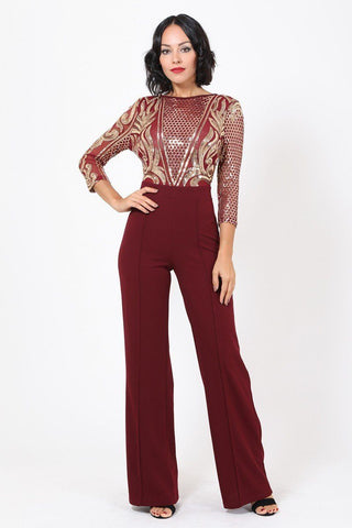Open Back Gold Sequin Pattern Jumpsuit