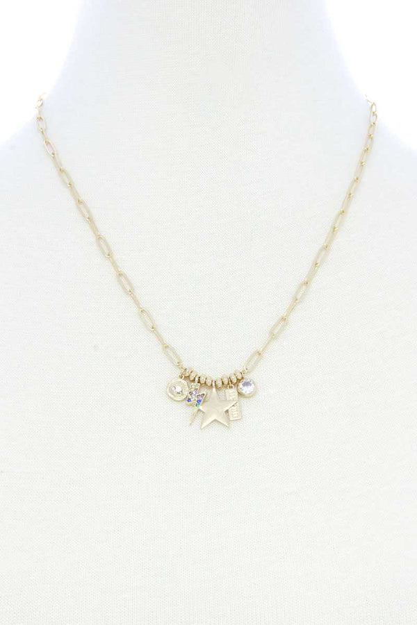 Gold Dainty Star Lighting Bolt Charm Metal Necklace