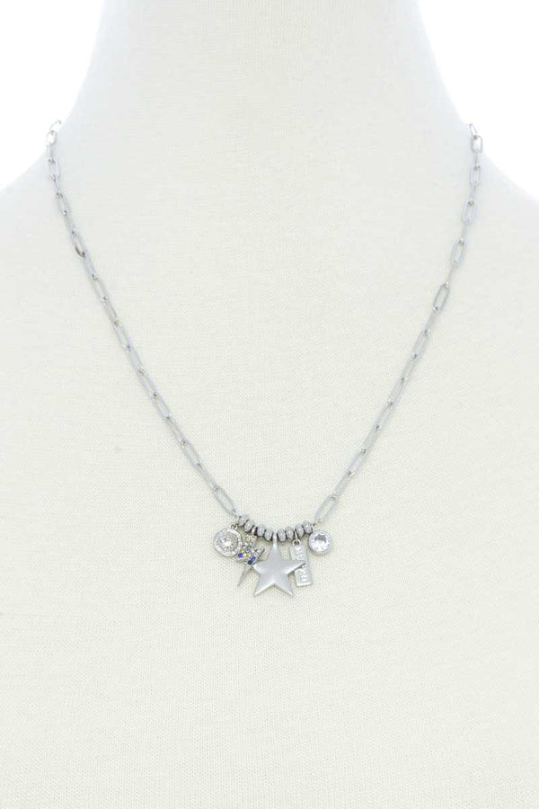 Silver Dainty Star Lighting Bolt Charm Metal Necklace