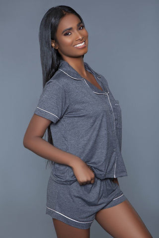 Soft Jersey Pajama Set With Buttoned Short Sleeves Top And Stretch Waist Bottoms