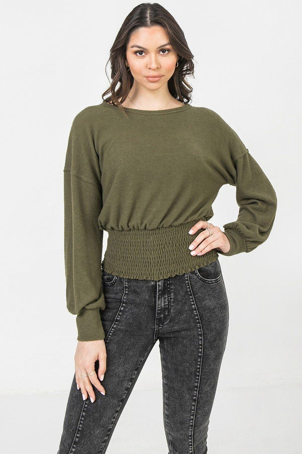 Women Olive Knit Top Featuring Wide Neckline Long sleeve