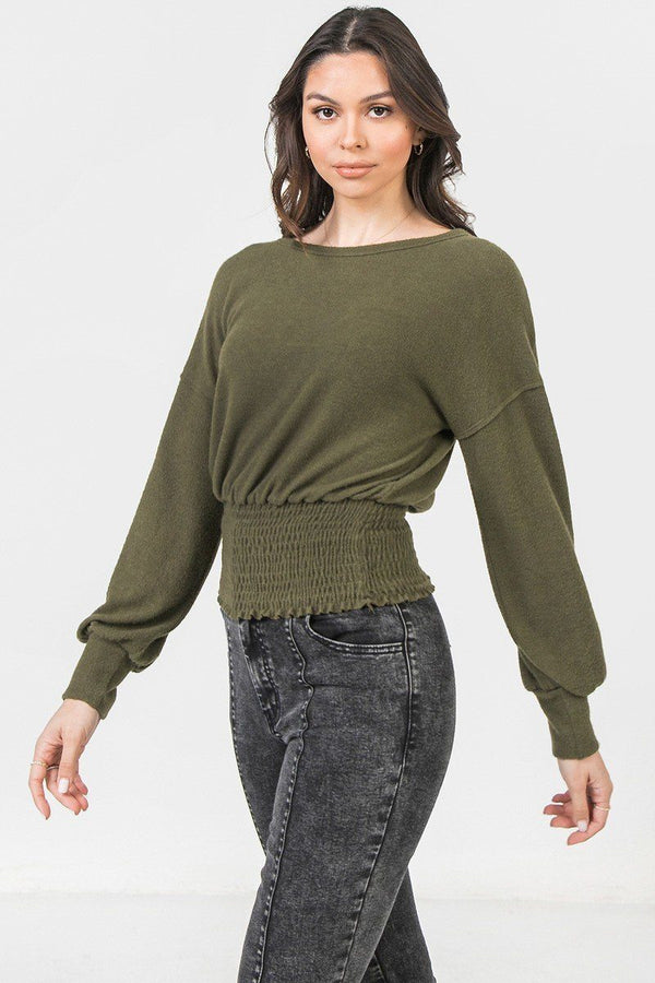 Olive Knit Top Featuring Wide Neckline