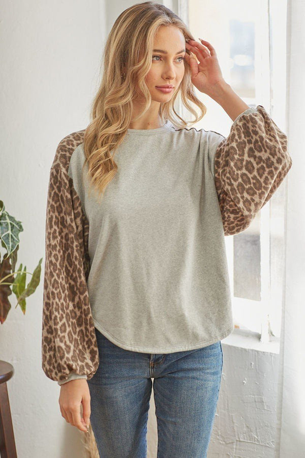 Grey Leopard Solid Long Sleeve Top