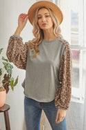 Leopard Solid Long Sleeve Top
