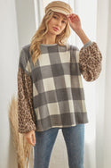 Grey Long Sleeve Plaid Cheetah Patterned Top