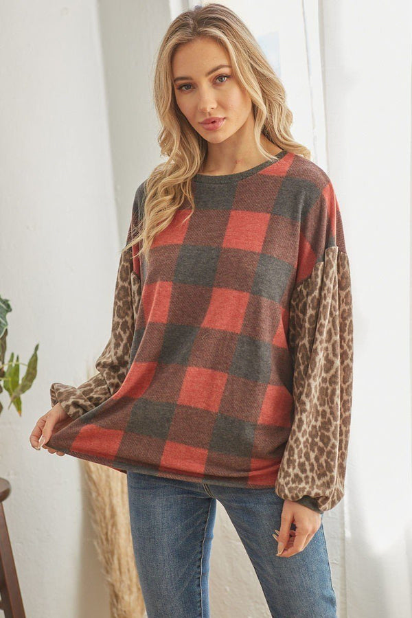 Red Long Sleeve Plaid Cheetah Patterned Top