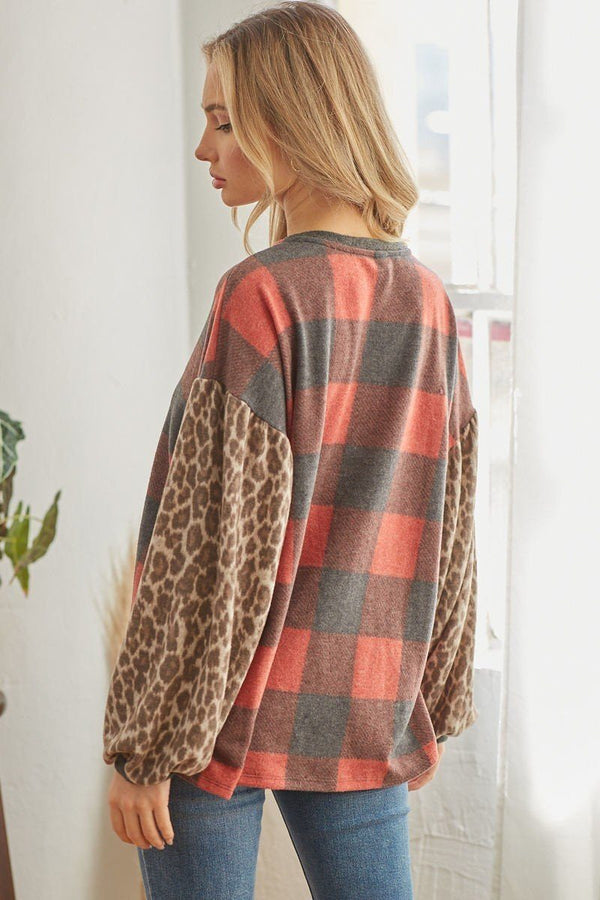 Long Sleeve Plaid Cheetah Patterned Top