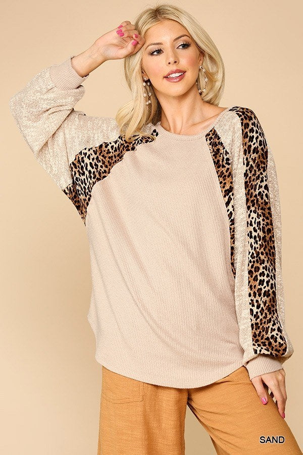 Animal Print Mixed Dolman Sleeve Top