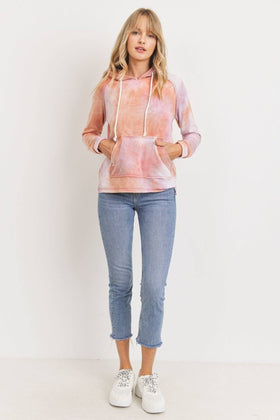 Baby Fleece Tie Dyed Front Pocket Detailed Ls Hoodie Top