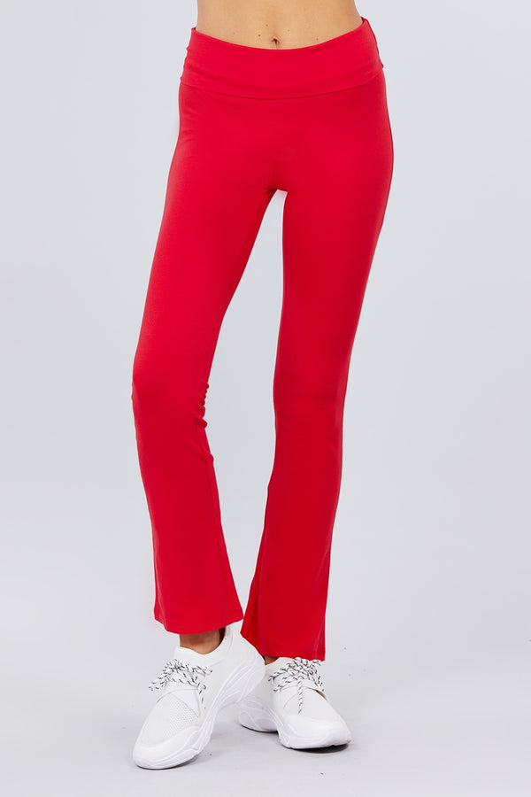 Red Banded Waist Yoga Pants