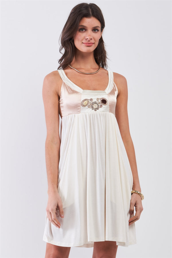 White & Champagne Gold Sleeveless Embroidered Satin Detail Mini Dress