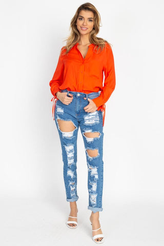 Women's Distressed Straight Leg Jeans