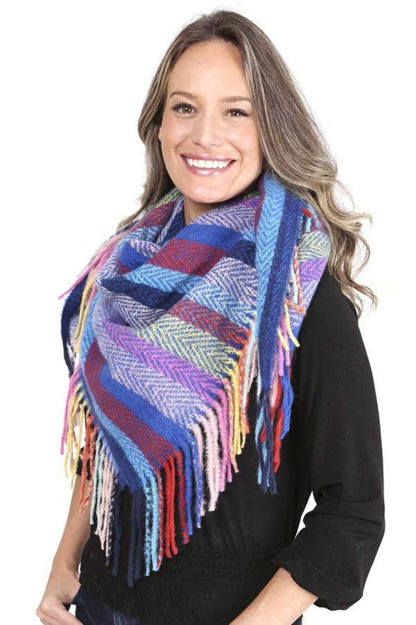 Blue Stripes Blanket Scarf With Fringes
