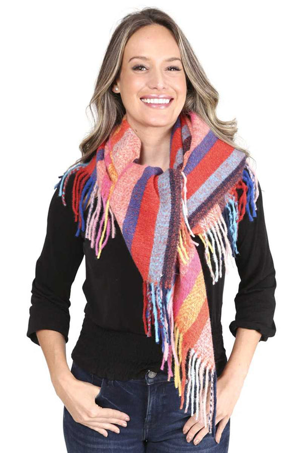 Red Stripes Blanket Scarf With Fringes