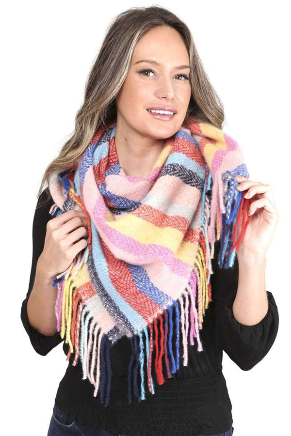 Pink Stripes Blanket Scarf With Fringes
