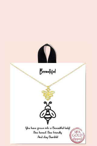 Gold Bee Beeautiful Lady Message Pendant Necklace