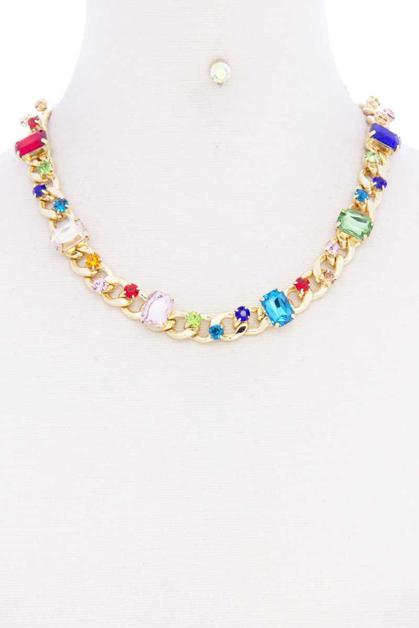 Rhinestone Multi Color Cuban Link Necklace
