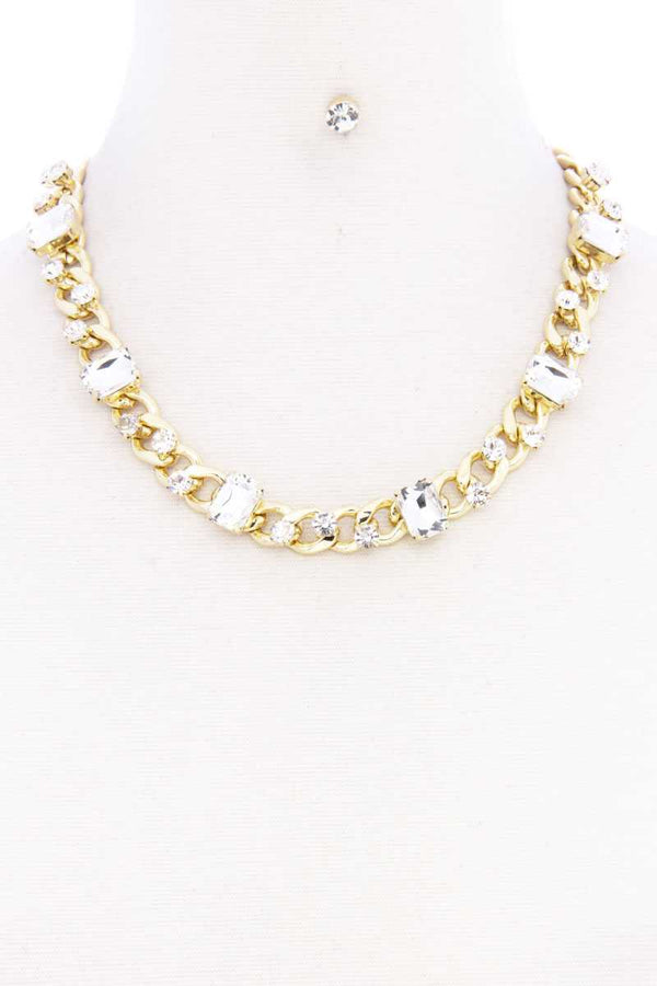 Rhinestone Gold Cuban Link Necklace