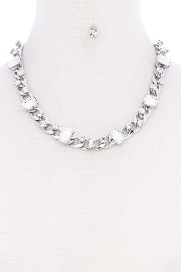 Rhinestone Silver Cuban Link Necklace