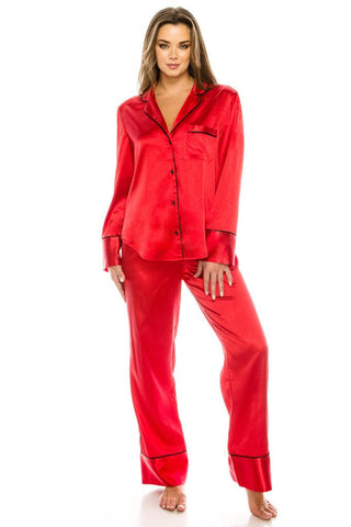 Women's Satin 2 Pc Pajama Pj Set