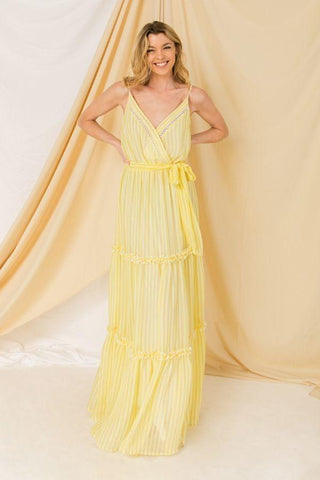 Women's Beige Woven Spaghetti Strap Maxi Dress