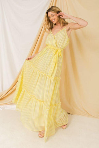 Women's Yellow Woven Spaghetti Strap Maxi Dress