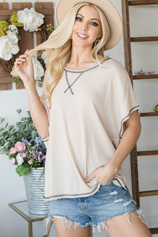 Taupe Open Back Wide Sleeve Short sleeve Top