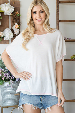 Ivory Open Back Wide Sleeve Short sleeve Top